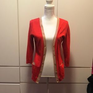 New York & company orange cardigan size medium